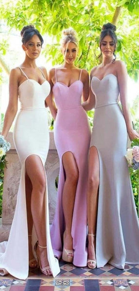 Mermaid Spaghetti Straps Sweetheart Simple Bridesmaid Dresses with small train, PD0361