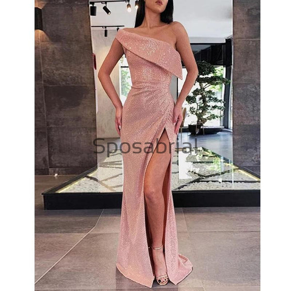 Mermaid Sparkly Pink Sequin Side Slit Tight Formal Prom Dresses PD2052