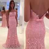 Pink Lace Floor-Length Charming Most Popular Prom Dress, Party Dress, PD0313