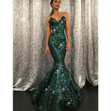 Mermaid Sweetheart Sweep Train Green Sequined Sparkly Stunning Long Prom Dresses, PD1239