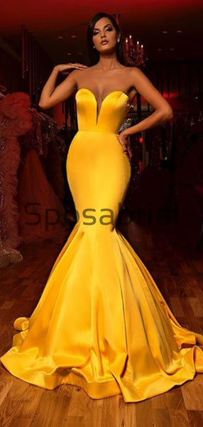 Mermaid Sweetheart Yellow Simple Tight Modest Formal Prom Dresses PD2055