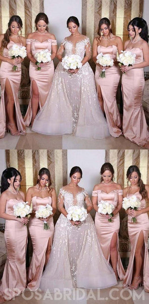 Mermaid Wedding Guest Party Dress, Side Split Zipper Blush Pink Bridesmaids Dresses ,Sweetheart Maid of Honor Gowns, WG405