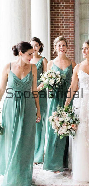 Mismatched Green Chiffon Long Formal Bridesmaid Dresses WG817