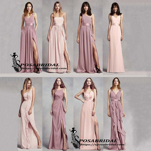 Mismatched  A-line Sleeveless Cheap Formal Simple Modest Custom Bridesmaid Dresses,WG339