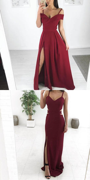 Mismatched  Burgundy Modest Cheap Unique Bridesmaid Dresses, Popular Party Prom Dresses , PD0896