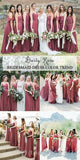 Mismatched Chiffon Inexpensive Floor Length A-line Dusty Rose Simple Bridesmaid Dresses,Wedding Guest Dresses WG575