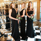 Mismatched Custom Made Black Chiffon Cheap Open Back Full Length Bridesmaid Dresses  ,WG359