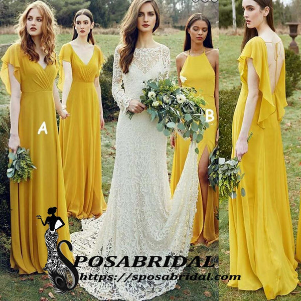 Mismatched Yello Chiffon Cheap Simple Soft Open Back Bridesmaid Dresses, WG340