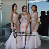 Mixed Style Long Floor Length Appliques Cheap New Elegant Bridesmaid Dresses , WG312