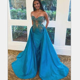 Modest A-Line Sweetheart Sweep Train Blue Detachable Prom Dresses with Appliques , PD0990
