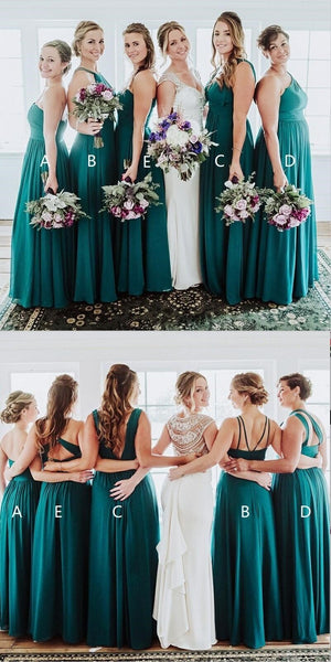 Chiffon Mismatched Affordable Hot Sale Floor-Length Turquoise Bridesmaid Dresses, WG289