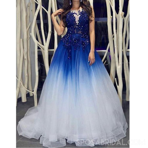 Modest Custom Made Elegant Royal Blue White Long Prom Dresses with Appliques for Women, PD1115