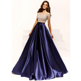Modest Formal Satin Short Sleeves A-line Prom Dresses With Beaded, Party Dress, Evening Dress,PD1348