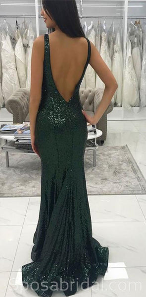 Modest Green Mermaid V Neck Long Sequin Sparkly Prom Dresses, PD1384