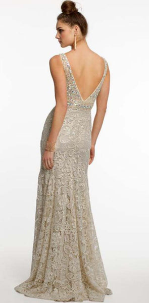 Modest Marvelous Lace V-Neck Sheath Prom Dresses With Rhinestones and Beads, PD1350