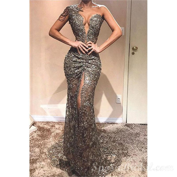 Modest Sexy Front Slit Sleeveless   Cheap Sequins One-Shoulder Mermaid Prom Dresses, PD1335