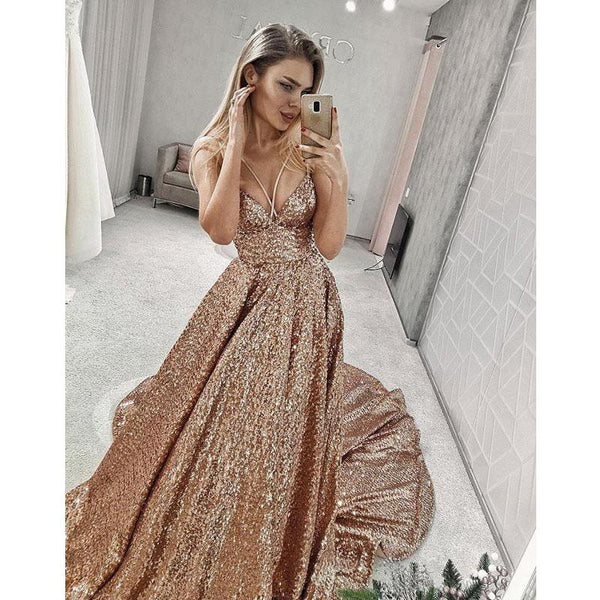 Modest Sparkly Stunning V Neck A Line Sequin Long Prom Dresses, Sequin Evening Dress, PD1241