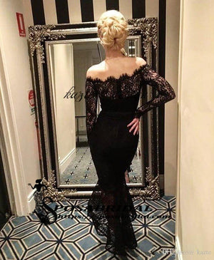Navy Blue Lace Long Bridesmaids Dresses Off Shoulder Long Sleeve Ankle Length Wedding Party Prom Dress Sexy Bohemia Beach Bridesmaid Dresses, WG298