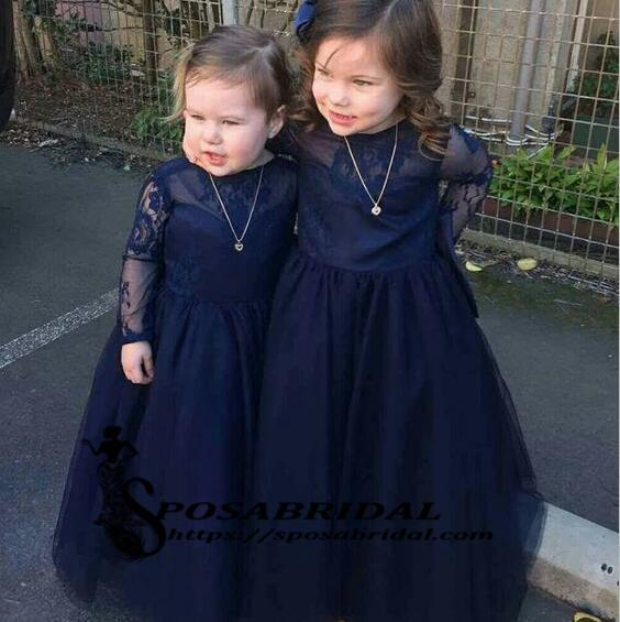 Navy Blue Top Lace Tulle Long Sleeves V-Back Soft Discount Custom Flower Girl Dresses with bow , FG129