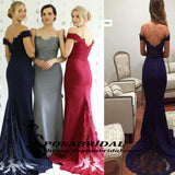 Navy Grey Red Off Shoulder Mermaid Cheap Modest Bridesmaid Dresses, Most Popular Unique Prom Dress, WG299
