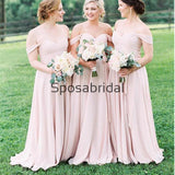 New Arrival Off the Shoulder Pink Chiffon Long Bridesmaid Dresses WG858
