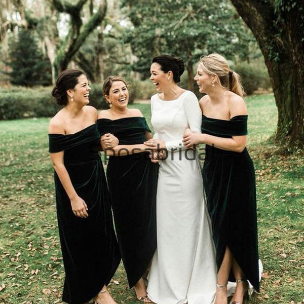 New Arrival Off the Shoulder Velvet Modest Bridesmaid Dresses WG859