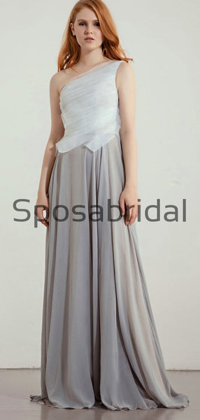 New Arrival Unique A-line One Shoulder Gray Long Bridesmaid Dresses WG886