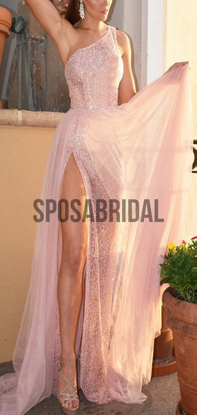 New Shinny Pink One SHoulder Sparkly Modest Long Prom Dresses PD2282