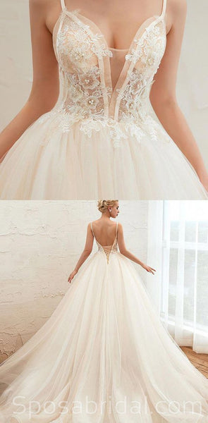 New Arrival  A-line Top Lace Appliques Lace up back Beach  Unique  Wedding Dresses, WD0358