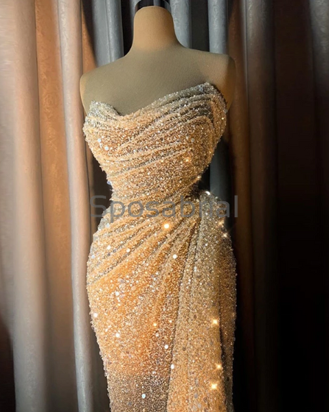 New Arrival Elegant Tube Top Stitching Sequin Mermaid Sparkly Prom Dresses PD2064