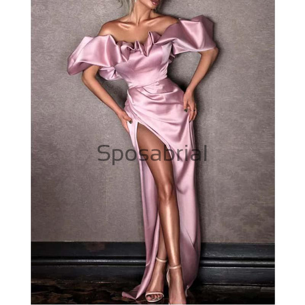 New Arrival Fashion Boat Neck Off the Shoulder Satin Simple Prom Dresses PD2067