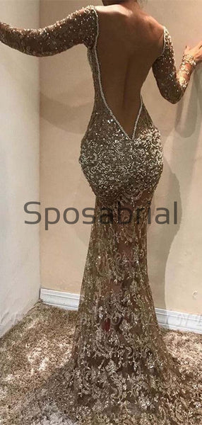 New Arrival Glamorous Mermaid Long Sleeves Open Back Sequin Prom Dresses PD2068