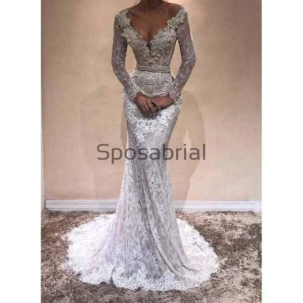 New Arrival Long Sleeves Lace Mermaid Elegant Prom Dresses PD2069