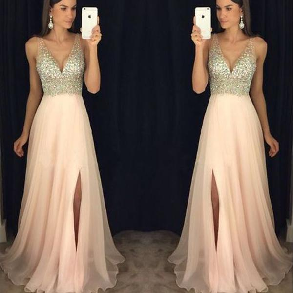 New Arrival Modest Sparkly Crystal Beaded V Neck Open Back Long Chiffon Prom Dresses, Pageant Evening Gowns with Leg Slit , PD0470