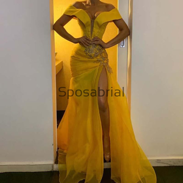 New Arrival Off-the-shoulder Yellow Women's Split Popular Prom Dresses PD2073