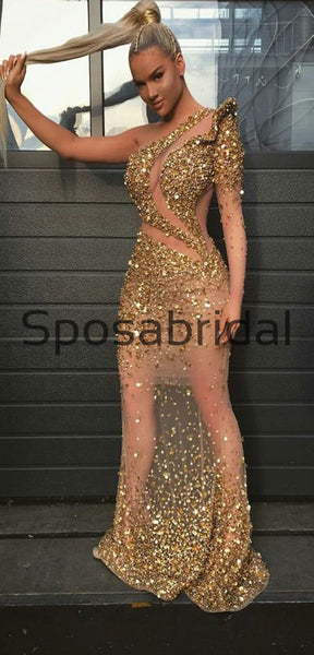 New Arrival One Shoulder Mermaid Formal Elegant Sparkly Modest Prom Dresses, Prom Dress PD1893