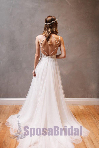 Spaghetti Straps Simple Tulle and Lace Cheap Zipper back  Wedding Dresses, beach wedding dresses,  PD0561