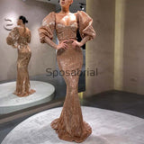 New Arrival Sparkly Long Sleeves Mermaid Elegant Fashion Prom Dresses PD2075