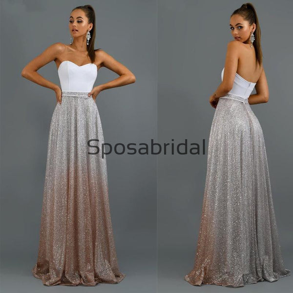 New Arrival Sweetheart Strapless Sequin A-line Sparkly Shining Long Prom Dresses, Prom dress PD1894
