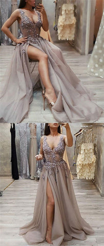 products/New_Modest_Fashion_Gray_V_Neck_Side_Split_Tulle_Long_Party_Ptrom_Dresses_2.jpg