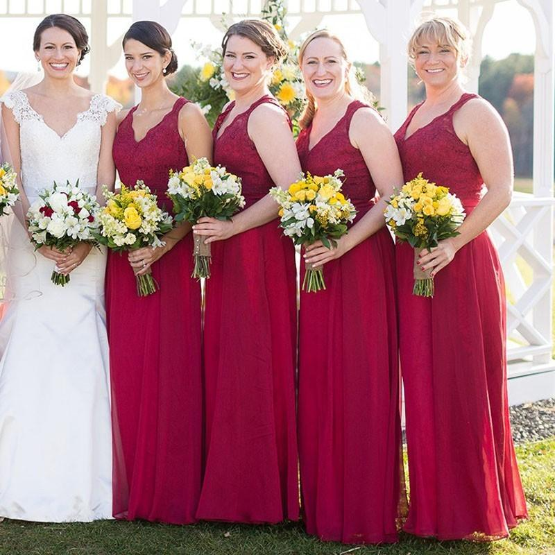 New Sexy Red Wedding Party Dress Lace Bridesmaid Dress Red