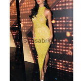 Newest Yellow Stunning Sparkly Mermaid Sexy Prom Evening Dresses PD2328