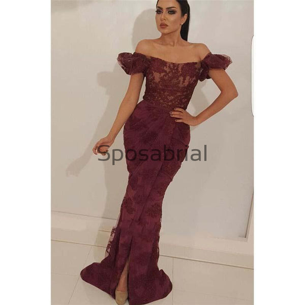 Newest Mermaid Burgundy Lace Sexy Off the Shoulder Prom Dresses PD2079