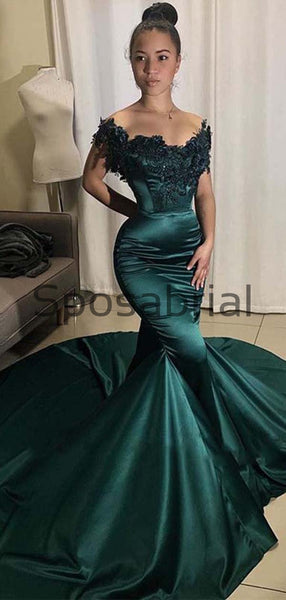 Newest Mermaid Satin Formal Custom Long Prom Dresses, Evening dress PD2080
