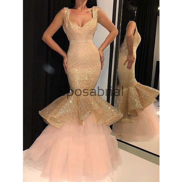 Newest Mermaid Sparkly Sequin Sexy Modest Prom Dresses PD2081