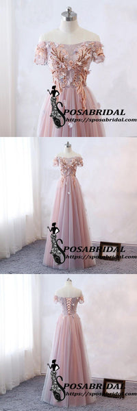 Pink Short Lace Sleeve Long A-Line Modest Popular Prom Dresses, Cheap Bridesmaid Dresses with Flowers ,WG325