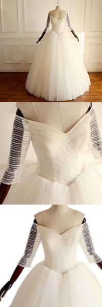 Off-the-Shoulder 3/4 Sleeves Sweetheart Bridal Gowns Sparkly Beading Shinning Gorgeous Princess Wedding Dresses , WD0281