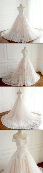 Off Shoulder A-Line Princess Wedding Dresses, 2018 Sparing Bridal Gowns, Popular Pretty sweetheart  Wedding Dress, WD0280