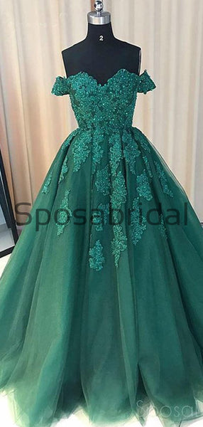 Off Shoulder Emerald Green Lace A line Long Custom Evening Prom Dresses PD2101