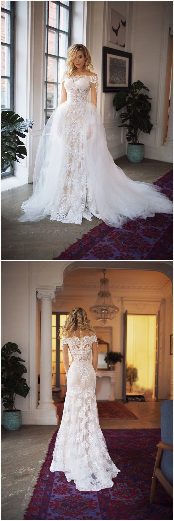 Off Shoulder Lace Elegant Formal Beach Fall Wedding Dress, Bridal Gowns,WD0341